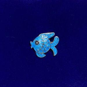 Vintage Margot de Taxco Enamel Fish Brooch 💙🐟